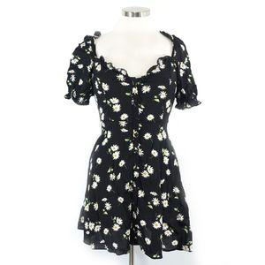 Zara Black Daisy Short Sleeve Dress